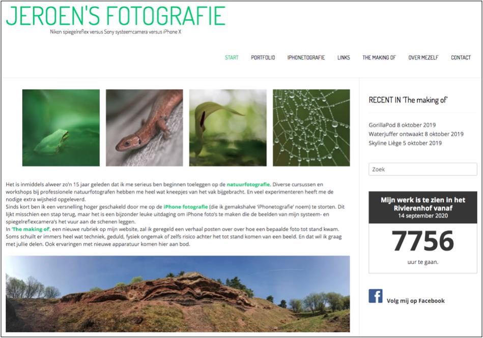 Screenshot van de startpagina bij de lancering van mijn nieuwe website